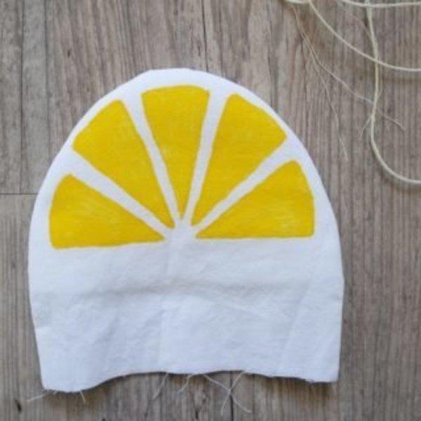 Pochette citron- Réalisation du motif