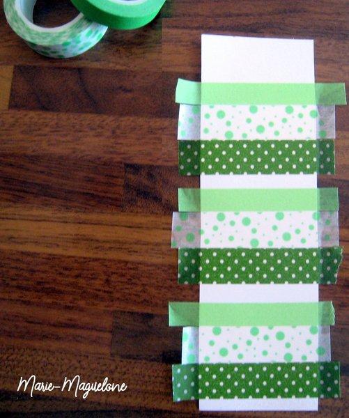 Fête des pères : marque-page et masking tape- Collage des bandes de masking tape pour décorer le marque-page