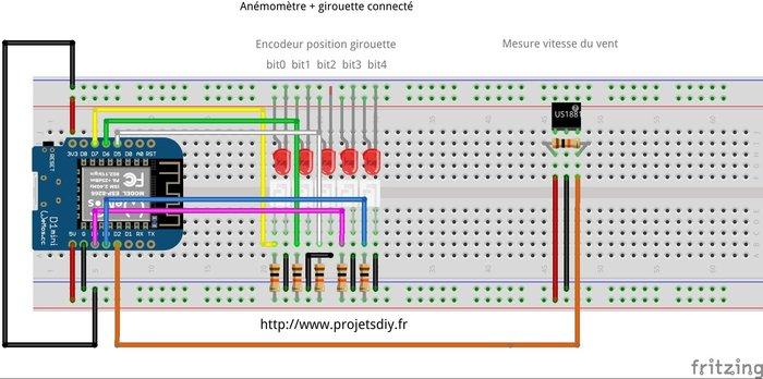 Anémomètre et girouette connectés- Réalisation du circuit à base d'ESP8266
