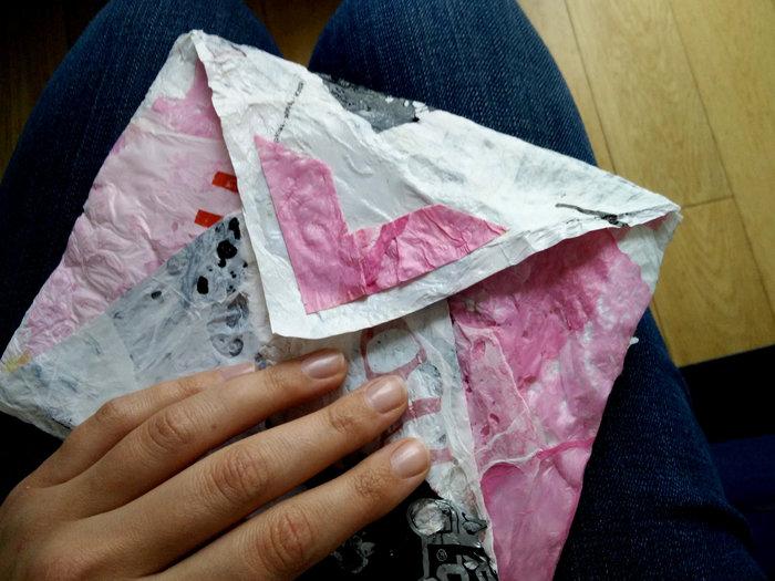 Une pochette avec des sacs plastiques fusionnés- Et c'est fini!