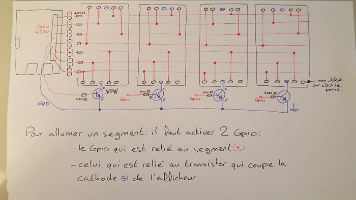 Reveil connecté au planning du boulot pour les horaires variables- Câblage multiplexé des 4 afficheurs