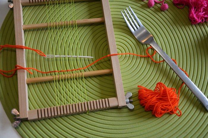 Pendentif Mini-tissage {BoHo-Chic}- Elaboration de la trame