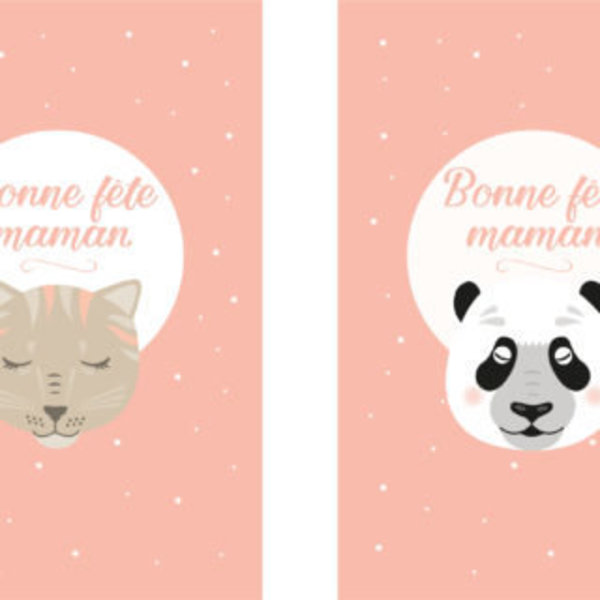 DES CARTES POUR LA FÊTE DES MÈRES « EN ROUTE FÉLICIE »- Les cartes chat et panda