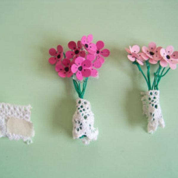 Mini boîtes pour petits cadeaux handmade- Faire des minis bouquets de fleurs en papier
