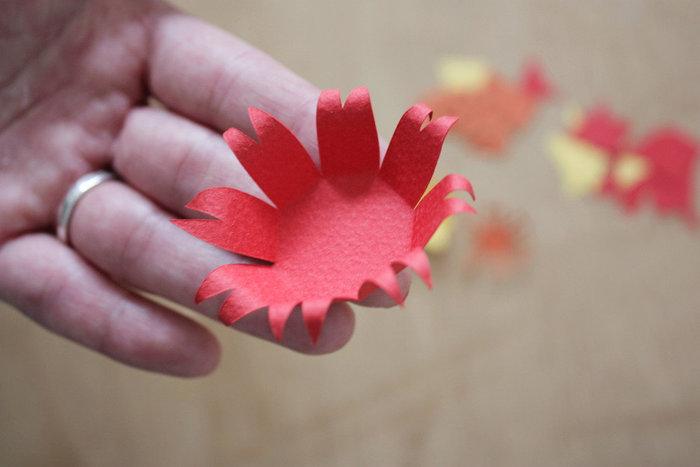Carte fleurie en papier- MISE EN RELIEF DE NOS FORMES DÉCOUPÉES