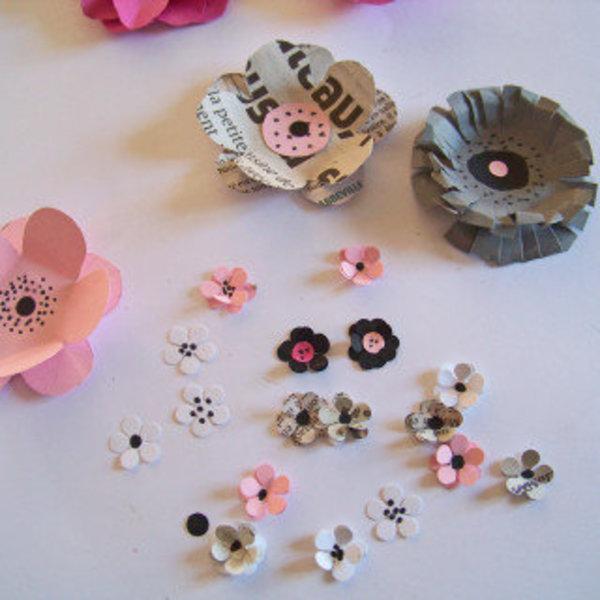 Les fleurs en papier s 'encadrent !- Découper les petites fleurs