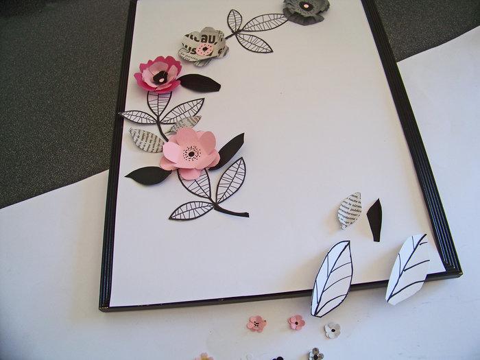 Les fleurs en papier s 'encadrent !- Dessiner les feuilles