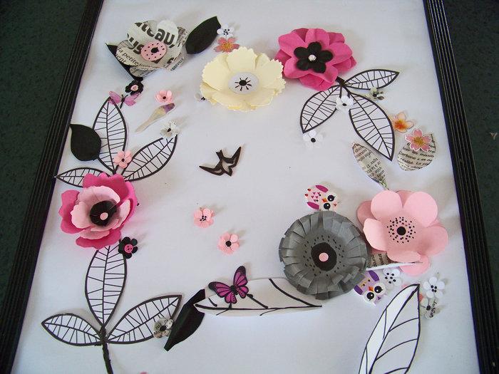 Les fleurs en papier s 'encadrent !- Essai de présentation