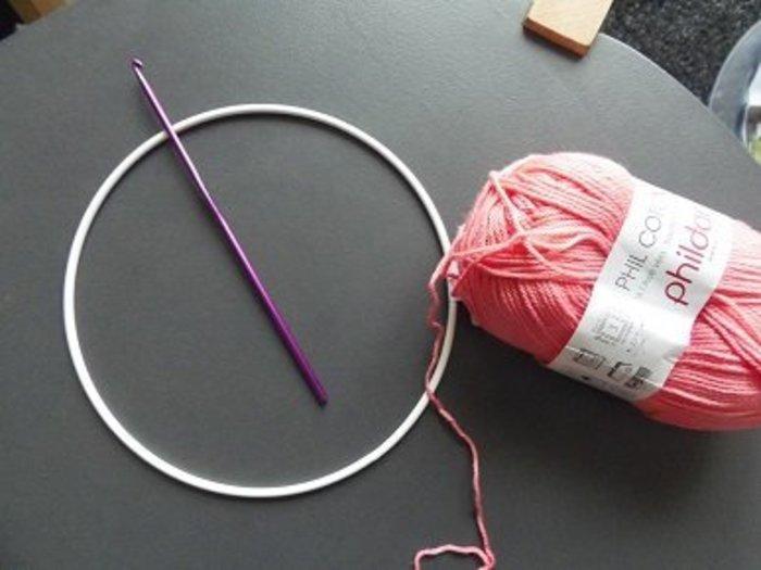 cadre au crochet- crocheter la fleur-anneau