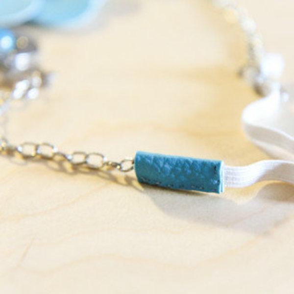 Headband Fleur Bleue- Fixation de l'élastique