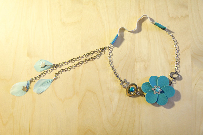 Headband Fleur Bleue- Fixation des plumes sur le coté