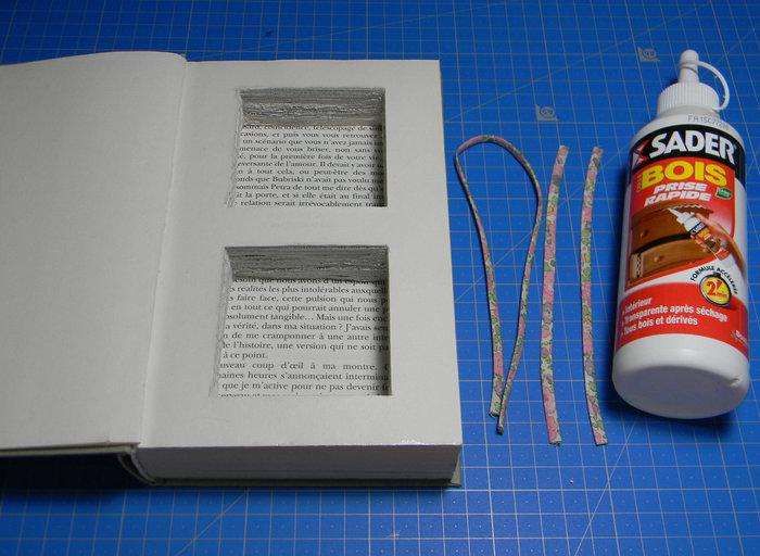 Livre creusé porte-alliances vintage- Mise en place des rubans qui tiendront les alliances dans les cases :