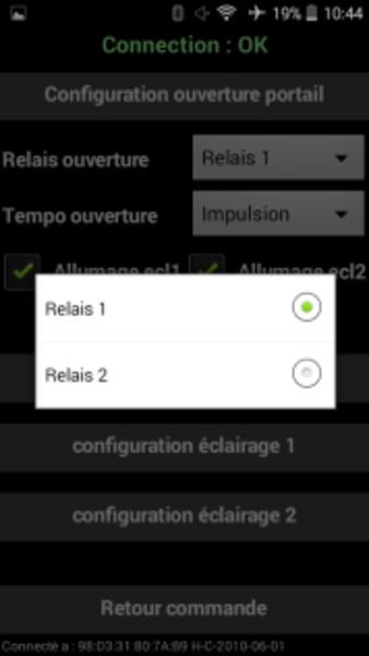 ARDUI-PORTAIL BLUETOOTH- Présentation de l'application android – écran config