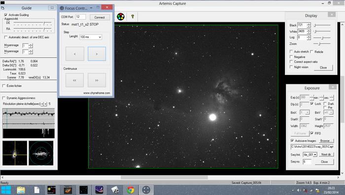 Contrôleur de mise au point motorisé pour télescope- Coté PC