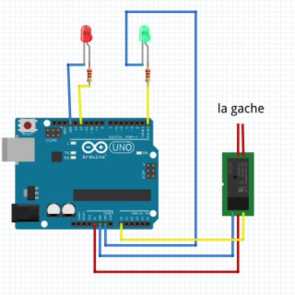Systeme de contrôle d'accès- Branchement des LEDs et le Relais