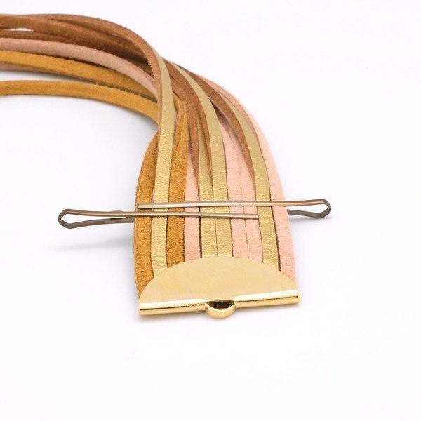 Bracelet manchette Gold- Montage des cordons