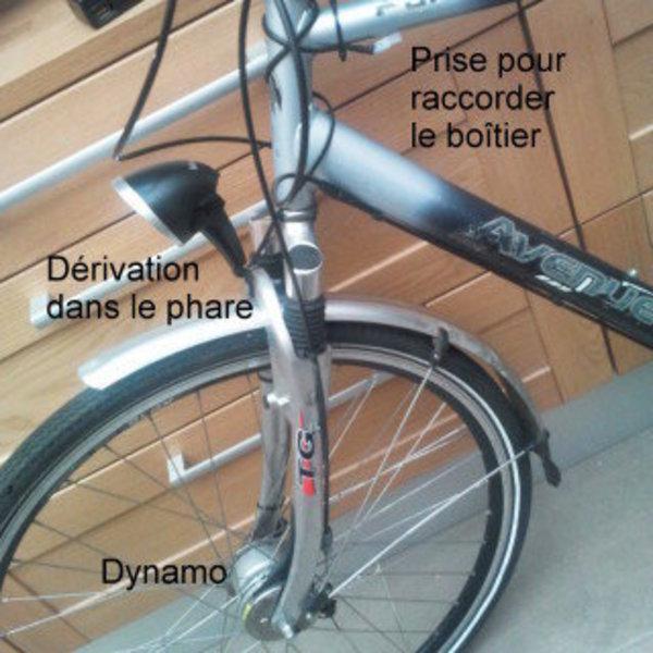 DYN2USB : chargeur USB de vélo- Optionnel : pouvoir enlever le DYN2USB du vélo