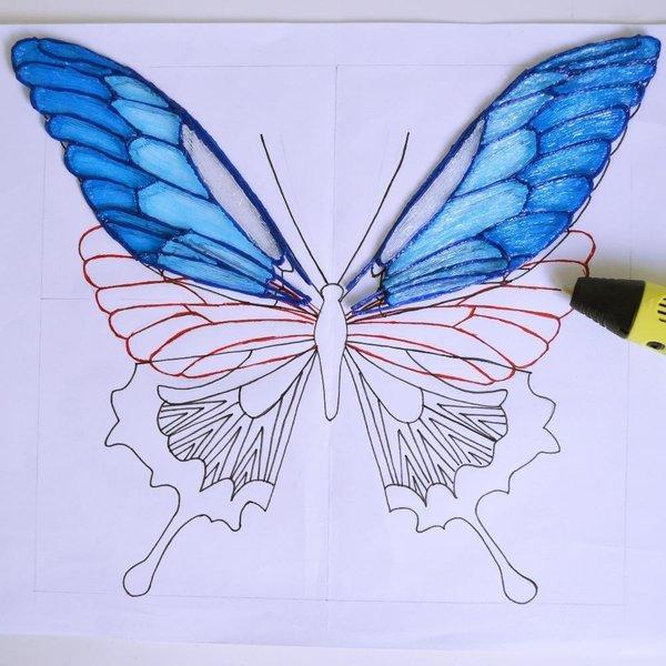 Créez des papillons en 3D- Les ailes du haut