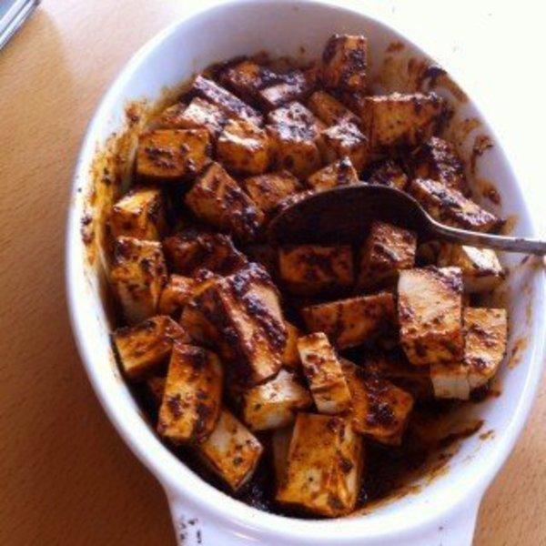 Apéritif dînatoire tout bio, tout végétal, tout hivernal- Dés de tofu au épices