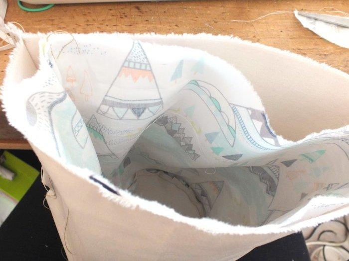 Des jolies panières en tissus- Rassembler les 2 épaisseurs