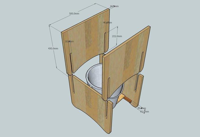 """Des toilettes sèches de type """"TLB"""" démontables !- Réaliser les 4 côtés et le fond des toilettes"""