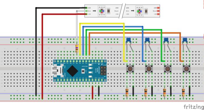 Un jeu de course lumineux… à la Ipxav !- Réaliser le câblage de l'Arduino