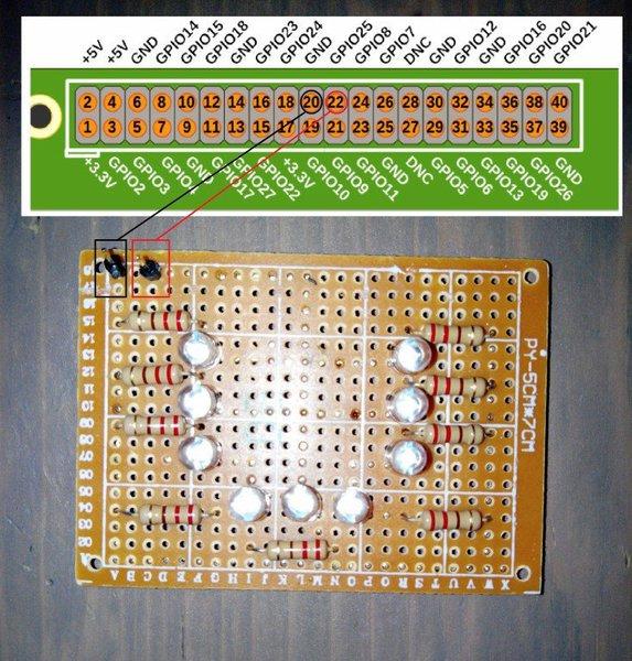Module d'éclairage leds infrarouges pour Cam NoIR sur Raspberry Pi- Branchement au Raspberry PI (RPI2 dans cet exemple)