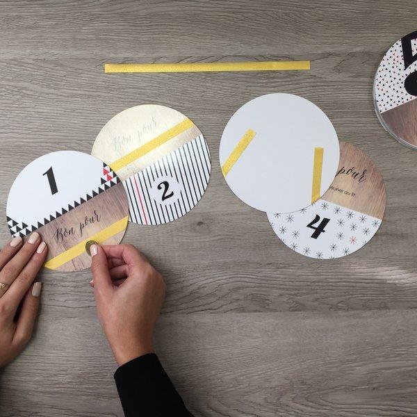 Atelier Noël DIY par Marion : calendrier de l'avent à gratter- Découpe et création des parties à gratter