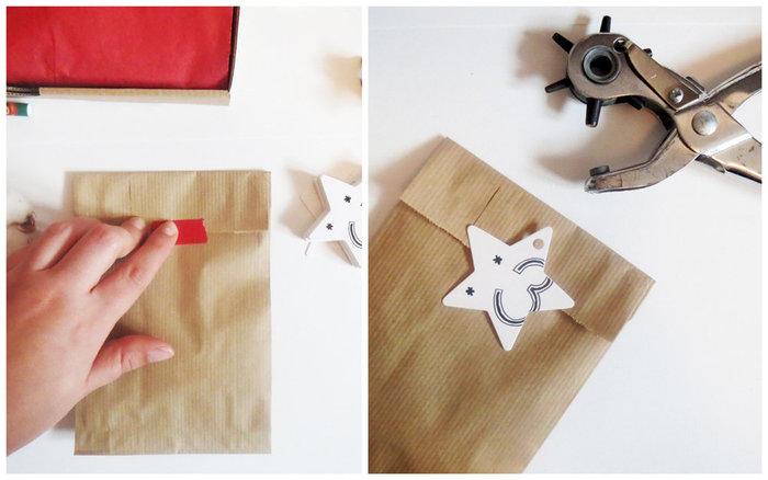 Calendrier de l'Avent Mes Petits Packagings- Accrocher les étoiles aux sachets