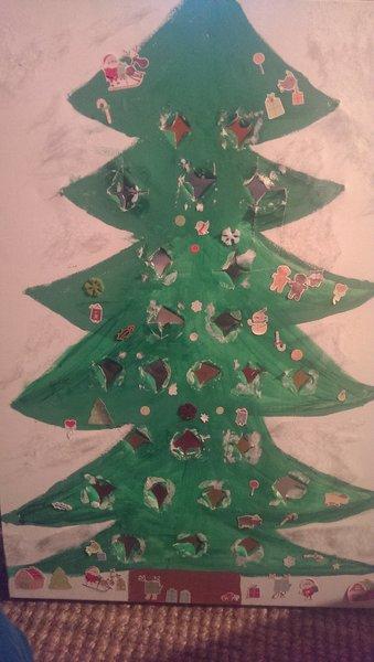 Calendrier de l'Avent Sapin de Noël- On colle les petits pots