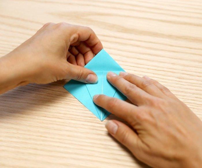 Cygne en origami- Pli du dessus