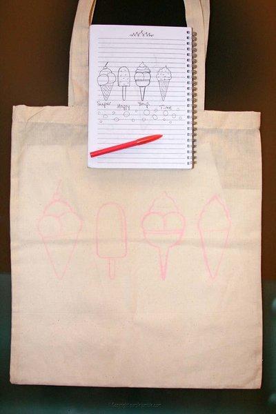 Un tote bag customisé pour l'été-Dessiner et peindre les glaces