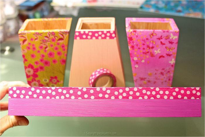 Des pots à crayons customisés-Décorer le plateau