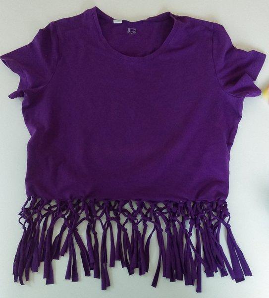 Un t-shirt à franges à faire soi-même-Faire les noeuds