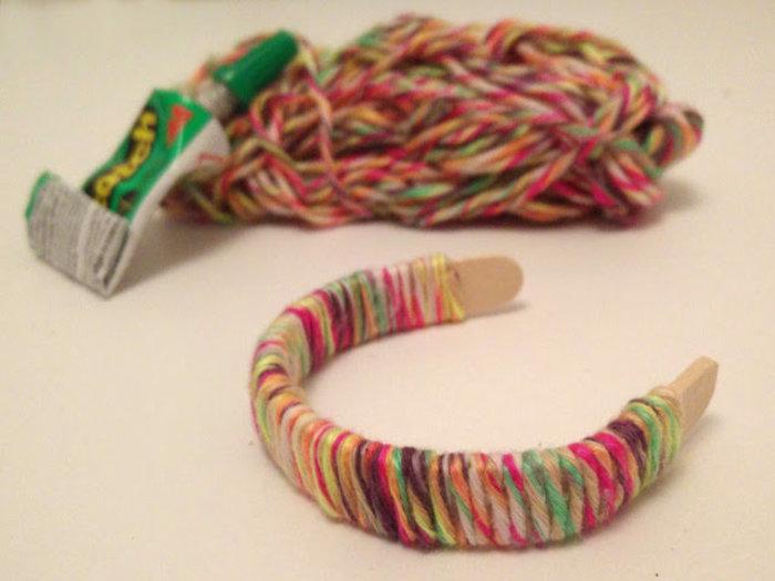 Bijoux avec des bâtons de glaces-Avec de la laine :