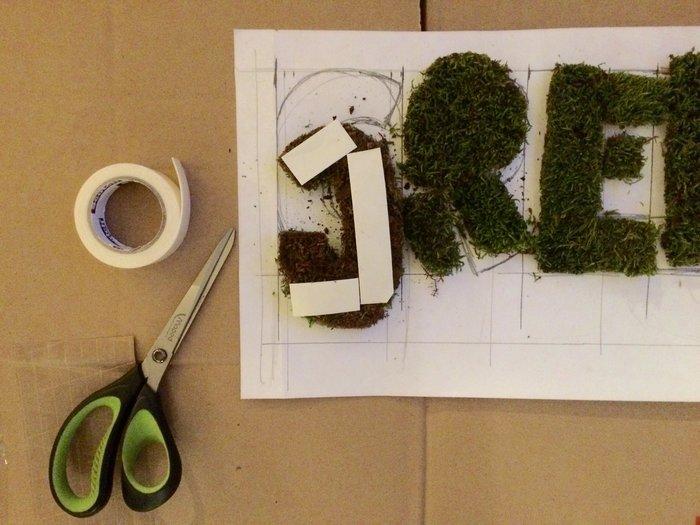 """Cadre déco citation avec de la mousse naturelle """"All you need is Green""""-Collage des lettres en mousse"""