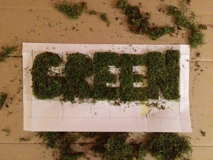 """Cadre déco citation avec de la mousse naturelle """"All you need is Green""""-Découpe des lettres en mousse"""