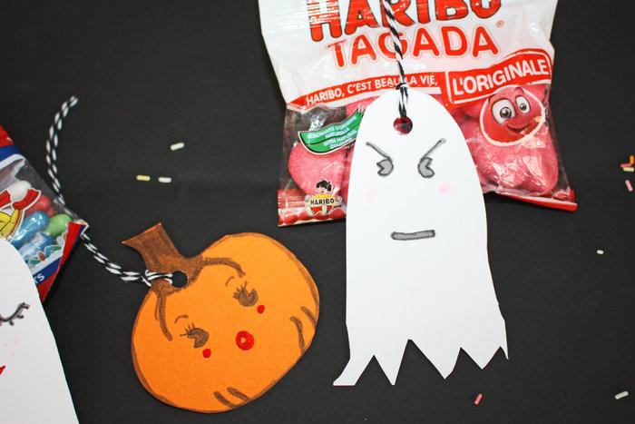 Fantômes kawaï pour halloween !!-Faire un trou en haut des étiquettes