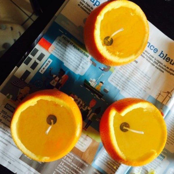 Bougies en oranges-Pose des mèches à bougies
