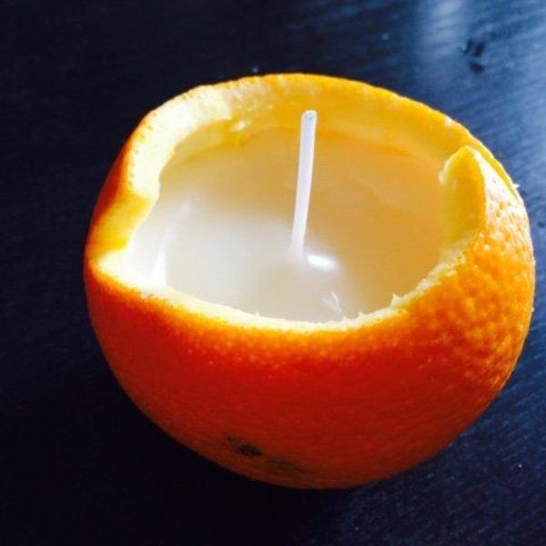 Bougies en oranges-Fondre et couler les bougies