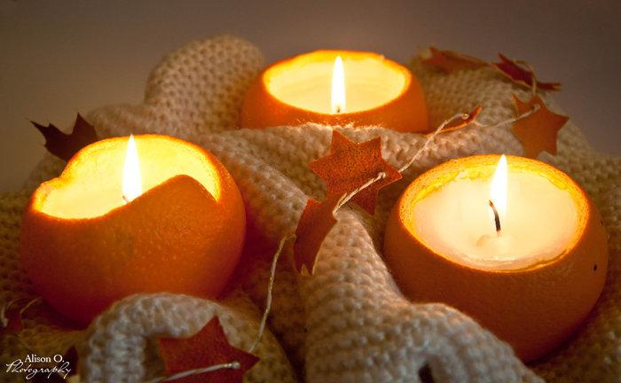 Bougies en oranges-Le résultat