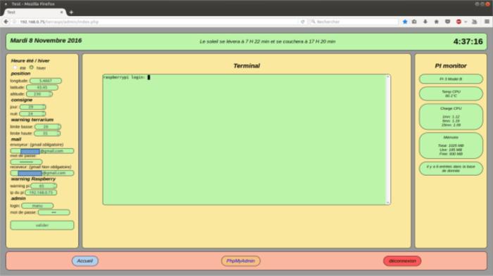 Terrarium 2.0 Raspberry pi-Le site et les programmes