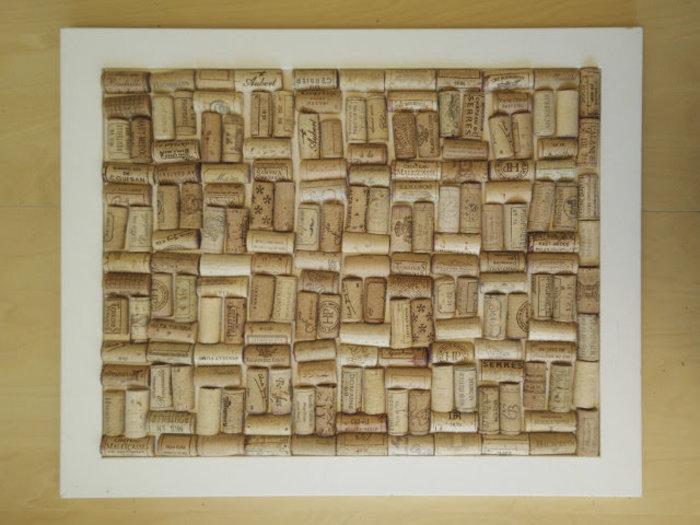 Un tableau liège en bouchons recyclés-Disposer les bouchons dans le cadre