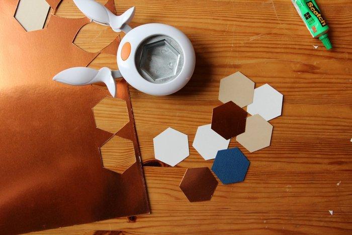 Couronne de Noël en papier cuivré-Les formes géométriques