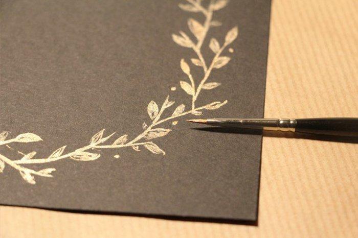 Créez une élégante carte de Noël cuivrée-La couronne de Noël