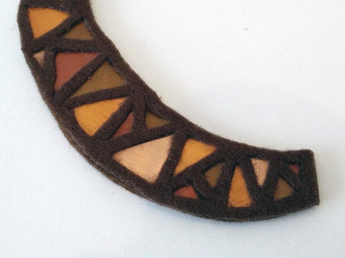 Bijoux cuivre fabriqué avec des capsules nespresso-Collez le feuille de feutre du haut avec de la colle en spray