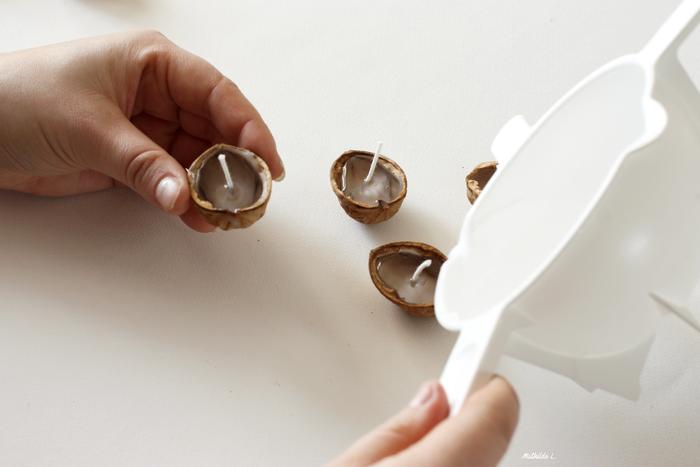 Bougies Coques de Noix-Versez la cire