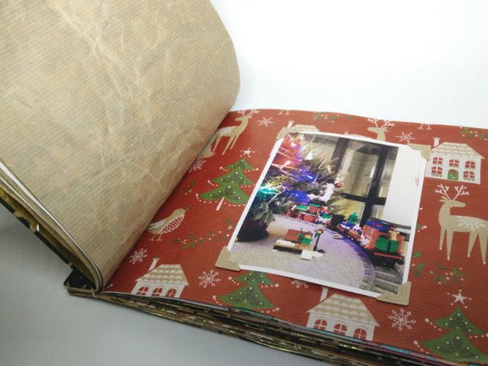 Un album photo en papier d'emballage recyclé-Décorer la couverture et remplir l'album photo