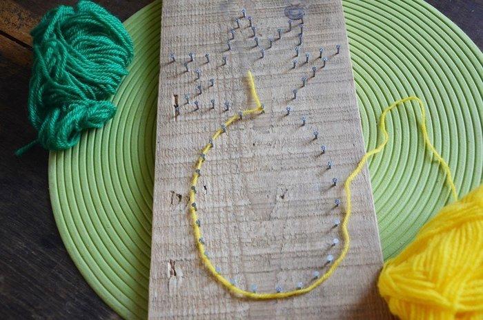 """{DiY} Panneau à clefs Ananas-Assemblage de la laine façon """"String Art"""""""
