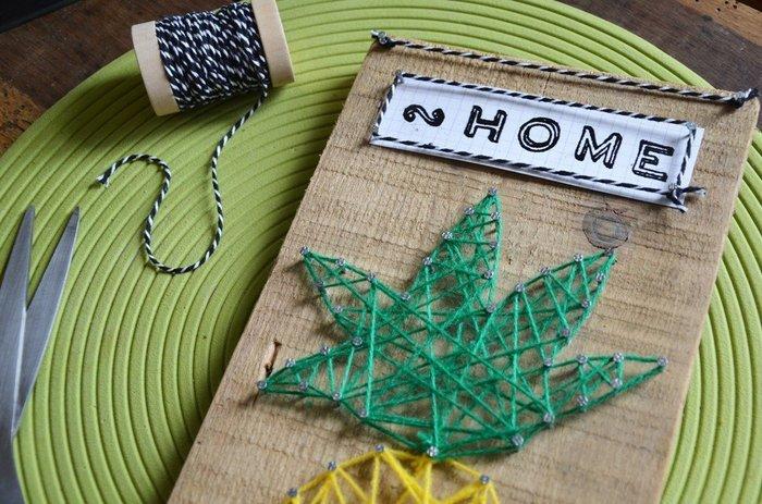 {DiY} Panneau à clefs Ananas-Décoration des lettrages et fixation des crochets